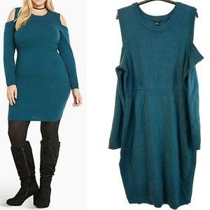 3X Torrid Teal Cold Shoulder Sweater Dress - NWOT